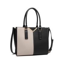 LG148 - panna Lulu Dwa Tone Winged Shoulder Bag - Czarny