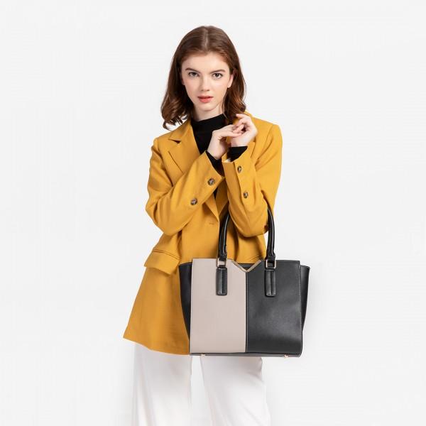 LG1948 - Miss Lulu Two Tone Winged Shoulder Bag - Black