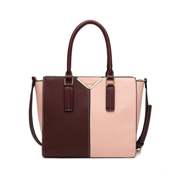 LG1948 - Miss Lulu Two Tone Winged Shoulder Bag - Nude