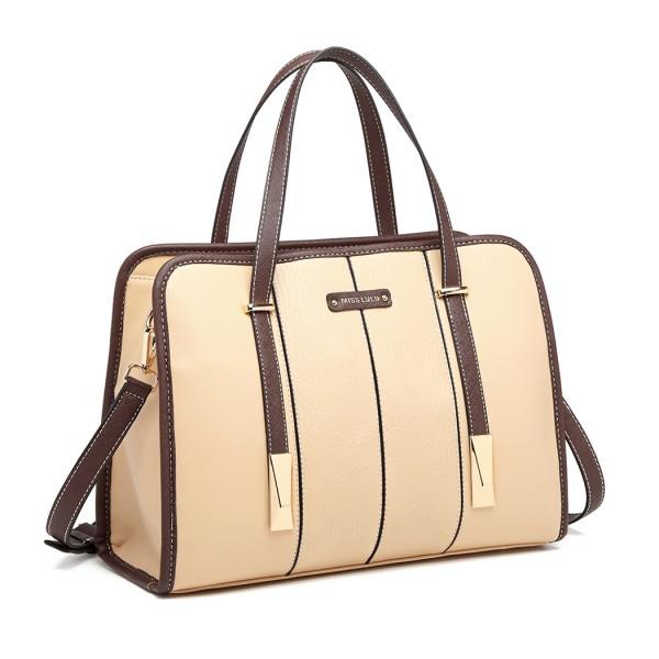 LG1949 - Miss Lulu Structured Panel Shoulder Bag - Beige