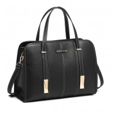 LG1949 - Miss Lulu Structured Panel Shoulder Bag - Black