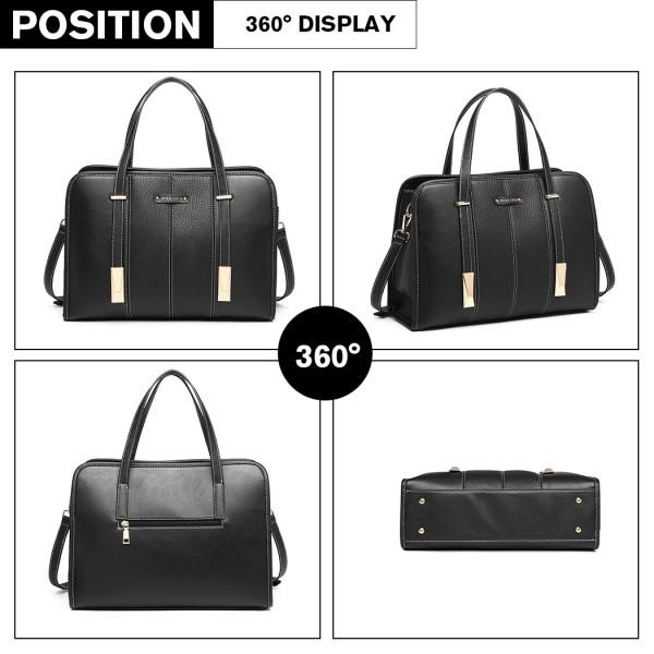 LG1949 - Miss Lulu Structured Panel Shoulder Bag - Black