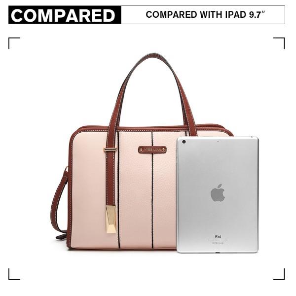 LG1949 - Miss Lulu Structured Panel Shoulder Bag - Pink