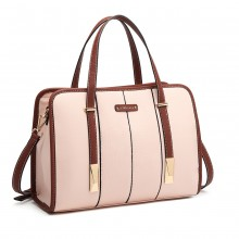 LG1949 - Miss Lulu Structured Panel Shoulder Bag - Pink