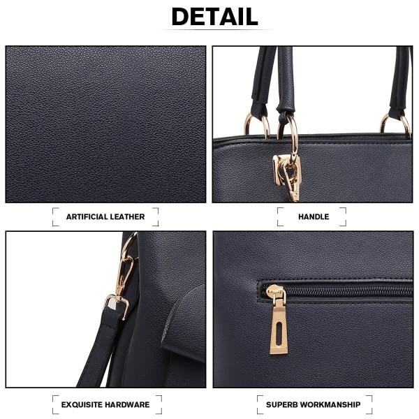LG1954 - Miss Lulu Leather Look Bow Pendant Handbag - Navy Blue