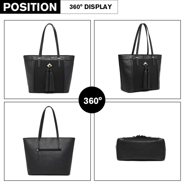 LG1961 - Miss Lulu Leather Look Tassel Tote Bag - Black
