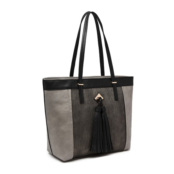 LG1961 - Miss Lulu Leather Look Tassel Tote Bag - Grey
