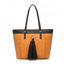LG1961 - Miss Lulu Leather Look Tassel Tote Bag - Yellow