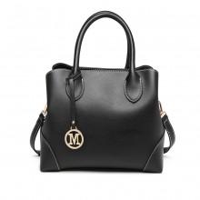 LG1973 - Miss Lulu Pu Leather Shoulder Bag - Black