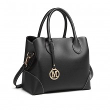 LG1973 - Miss Lulu Pu Leather Shoulder Bag - Black