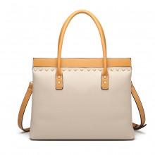 LG1974 - Miss Lulu Structured Leather Look Shoulder Bag - Beige