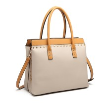 LG1974 --Miss Lulu Structurat Leather Look Shoulder Bag --Beige