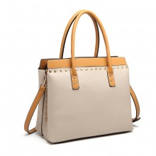 LG1974 - Miss Lulu Structured Leather Look Shoulder Bag - Beige