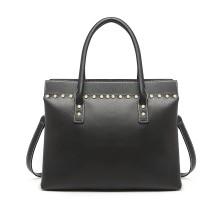 LG1974 - Bolso de hombro de cuero estructurado Miss Lulu Look - Negro