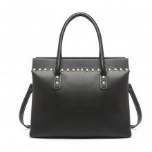LG1974 - Miss Lulu Structured Leather Look Shoulder Bag - Black