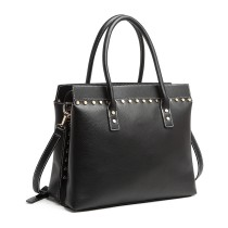 LG1974 - Panna Lulu Structured Leather Look Shoulder Bag - Czarny