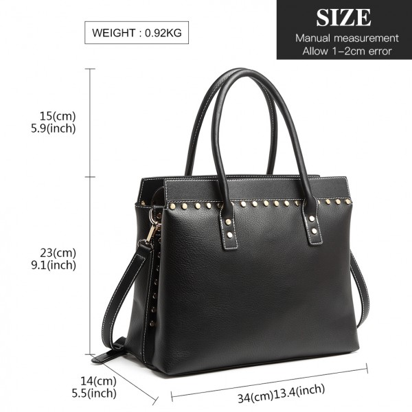 LG1974 - Miss Lulu Structured Leather Look Shoulder Bag - Black