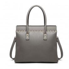 LG1974 - Miss Lulu Structured Leather Look Shoulder Bag - Grey