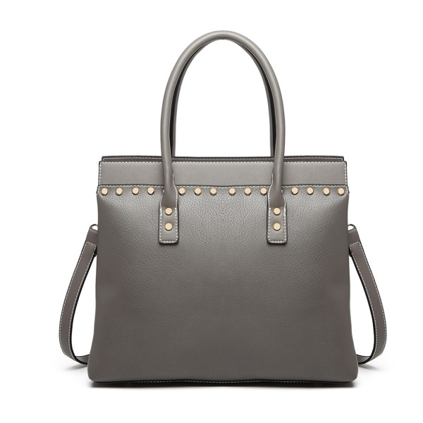 LG1974 - Miss Lulu Structured Leather Look Shoulder Bag - Grey