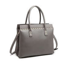 LG1974 --Miss Lulu Structurat Leather Look Shoulder Bag --Grey