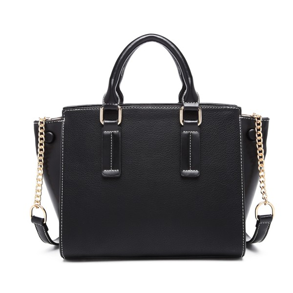 LG1975 - Miss Lulu Button Wing PU Leather Handbag - Black