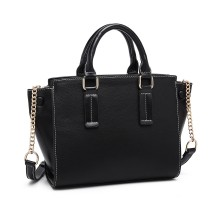 LG1975 --Miss Lulu Button Wing PU Leather Handbag --Black