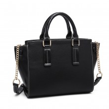LG1975 - Sac à main en cuir PU Miss Lulu Button Wing - Noir