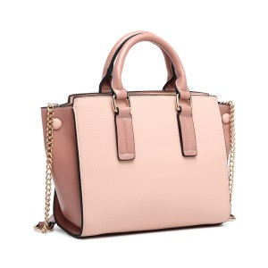 LG1975 - Miss Lulu Button Wing PU Leather Handbag - Pink