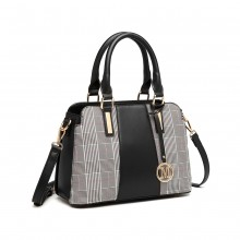 LG2001 - Miss Lulu Gingham Plaid Panel Shoulder Bag - Black