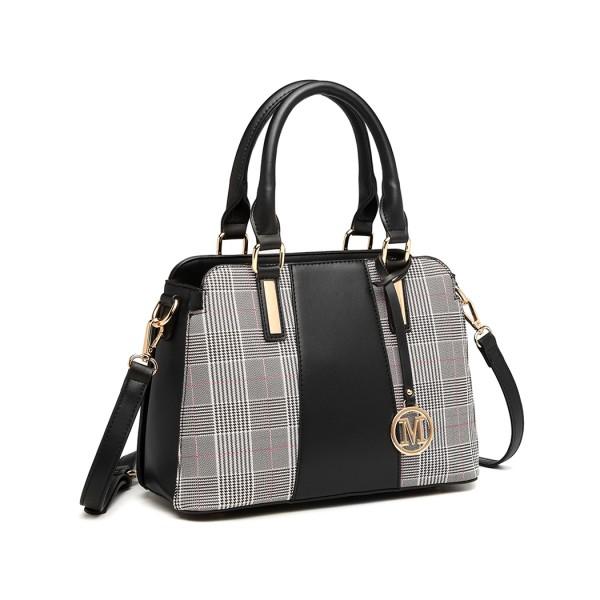 LG2001 - Miss Lulu Gingham Plaid Panel Shoulder Bag - Black