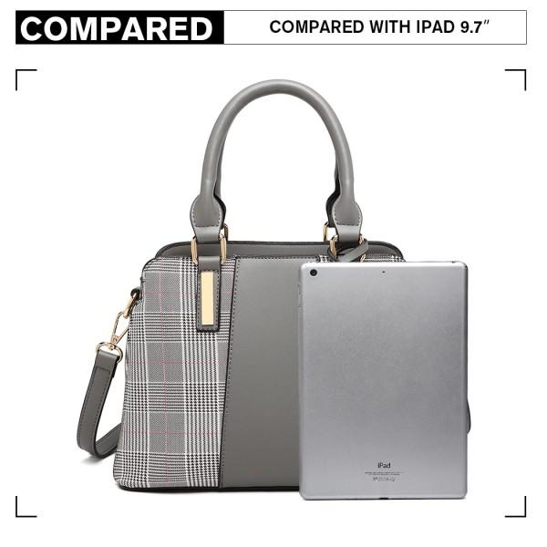 LG2001 - Miss Lulu Gingham Plaid Panel Shoulder Bag - Grey