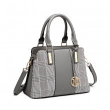 LG2001 - Miss Lulu Gingham Plaid Panel Shoulder Bag - Grey