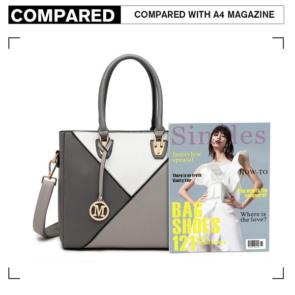 LG2013 - Miss Lulu Leather Look Geometric Ombre Handbag - Grey