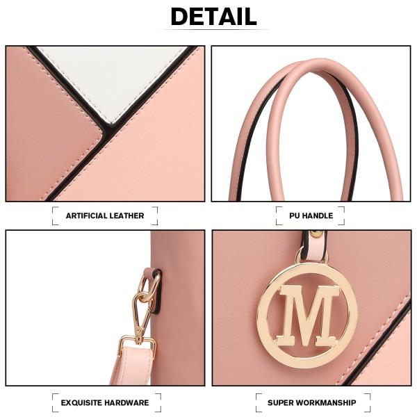 LG2013 - Miss Lulu Leather Look Geometric Ombre Handbag - Nude