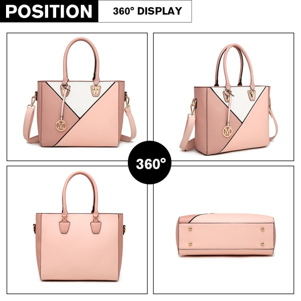 LG2013 - Miss Lulu Leather Look Geometric Ombre Handbag - Nude