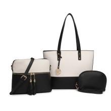 LG2023 - Miss Lulu 3 Piece Leather Look Tote Bag Set - Black And Beige