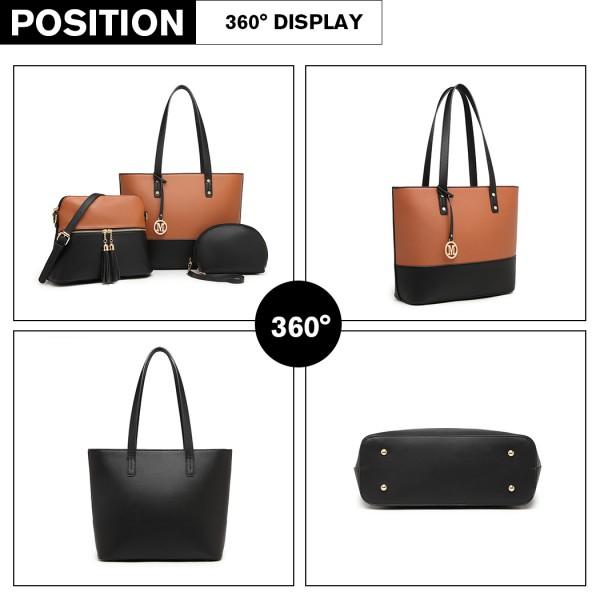 LG2023 - Miss Lulu 3 Piece Leather Look Tote Bag Set - Black And Brown