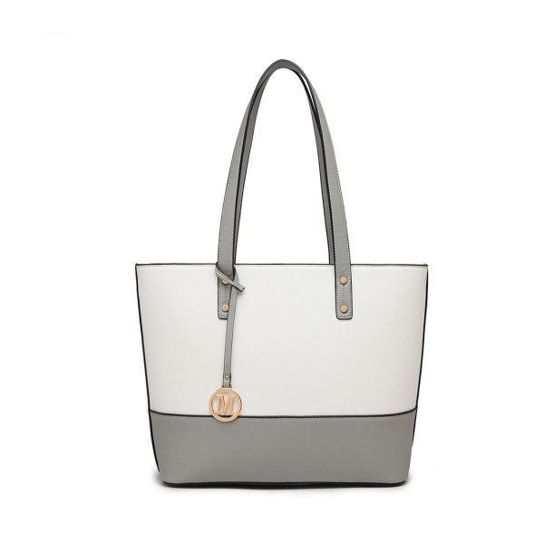 LG2023 - Miss Lulu 3 Piece Leather Look Tote Bag Set - Grey And White