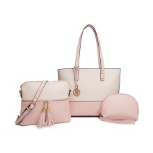 LG2023 - Miss Lulu 3 Piece Leather Look Tote Bag Set - Pink And Beige