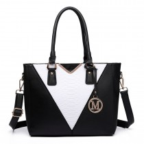 LG6632 - Miss Lulu Leather Look V-Shape Multicolour Tote Bag Black