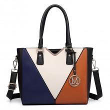 LG6632 - Miss Lulu Leather Look V-Shape Multicolour Tote Bag Brown