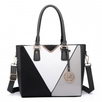 LG6632 - Miss Lulu Leather Look V-Shape Multicolour Tote Bag Grey