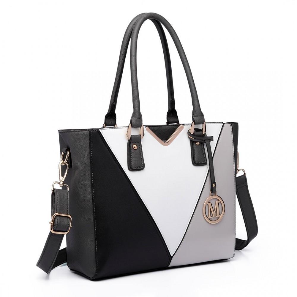LG6632 - Miss Lulu Leather Look V-Shape Multicolour Tote Bag Grey c19706134d709
