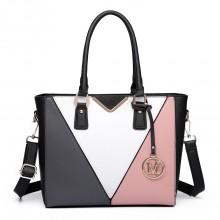 LG6632 - Miss Lulu Leather Look V-Shape Multicolour Tote Bag Nude