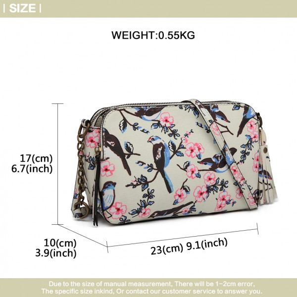 LG6802-MISS LULU CANVAS BIRD PRINT TASSEL CROSSBODY BAG SHOULDER BAG BEIGE