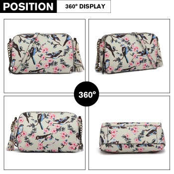 LG6802-MISS LULU CANVAS BIRD PRINT TASSEL CROSSBODY BAG SHOULDER BAG BEIGE