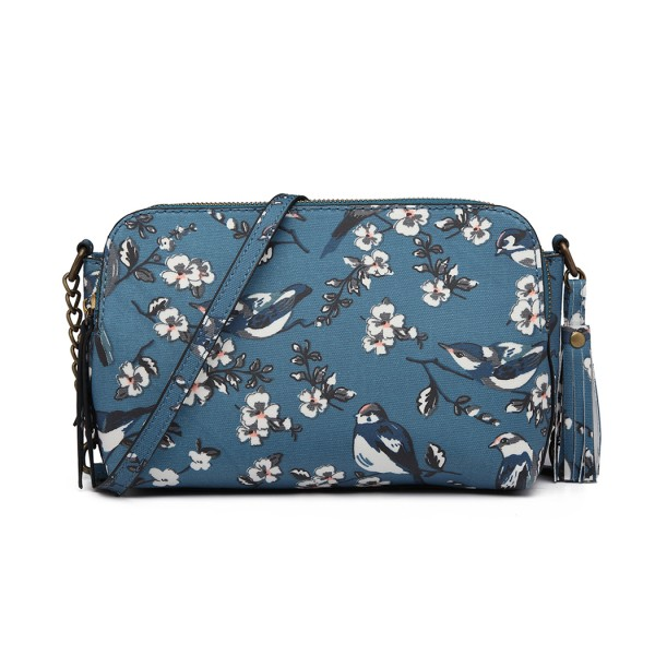 LG6802-MISS LULU CANVAS BIRD PRINT TASSEL CROSSBODY BAG SHOULDER BAG DARK BLUE