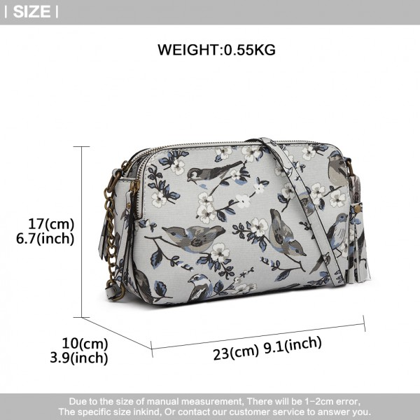 LG6802-MISS LULU CANVAS BIRD PRINT TASSEL CROSSBODY BAG SHOULDER BAG GREY