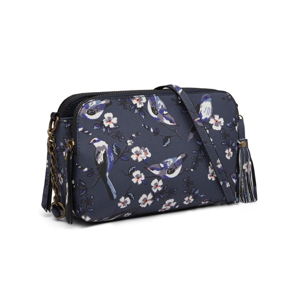 LG6802-MISS LULU CANVAS BIRD PRINT TASSEL CROSSBODY BAG SHOULDER BAG NAVY