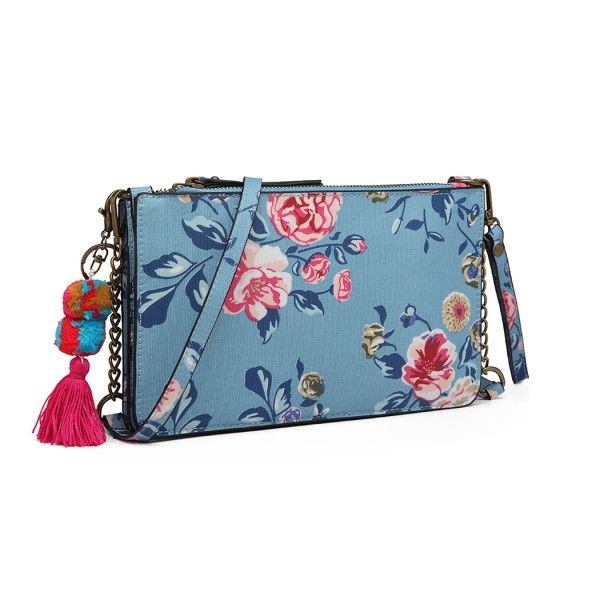 LG6803-MISS LULU CANVAS WITH POMPOM PENDANT HANDBAG SHOULDER BAG BLUE